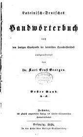 Lateinisch-Deutsches Handwörterbuch: nach dem heutigen Standpunkte der lateinischen Sprachwissenschaft
