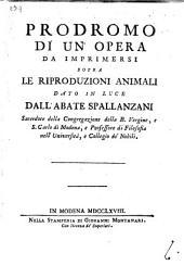 Prodromo di un'opera da imprimersi sopra le riproduzioni animali
