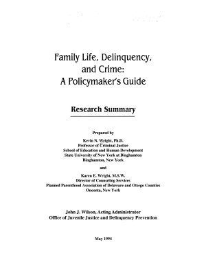 Family Life  Delinquency and Crime