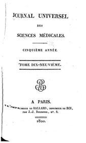 Journal universal des sciences médicales: Volumes19à20