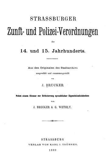 Strassburger zunft  und polizei verordnungen des 14  und 15  jahrhunderts PDF