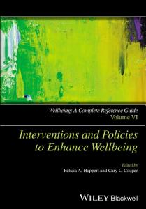Wellbeing  A Complete Reference Guide  Interventions and Policies to Enhance Wellbeing Book