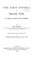 The First Divorce of Henry VIII PDF