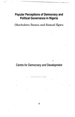 Popular Perceptions of Democracy and Political Governance in Nigeria