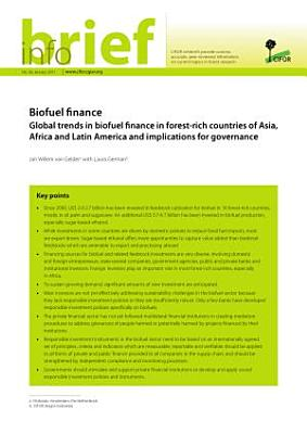 Biofuel finance: global trends in biofuel finance in forest-rich countries of Asia, Africa and Latin America and implications for governance