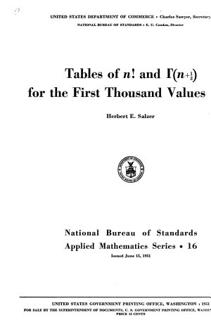 Tables of N