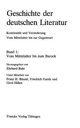 Geschichte der deutschen Literatur  Vom Mittelalter bis zum Barock PDF