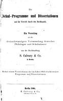 Die Schul Programme und Dissertationen und ihr Vertrieb durch den Buchhandel PDF