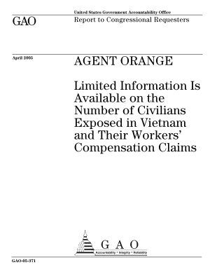Agent orange limited information is available on the number of civilians exposed in Vietnam and their workers' compensation claims : report to congressional requesters.