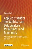 Applied Statistics and Multivariate Data Analysis for Business and Economics PDF