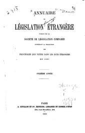 Annuaire de législation étrangère: Volume11