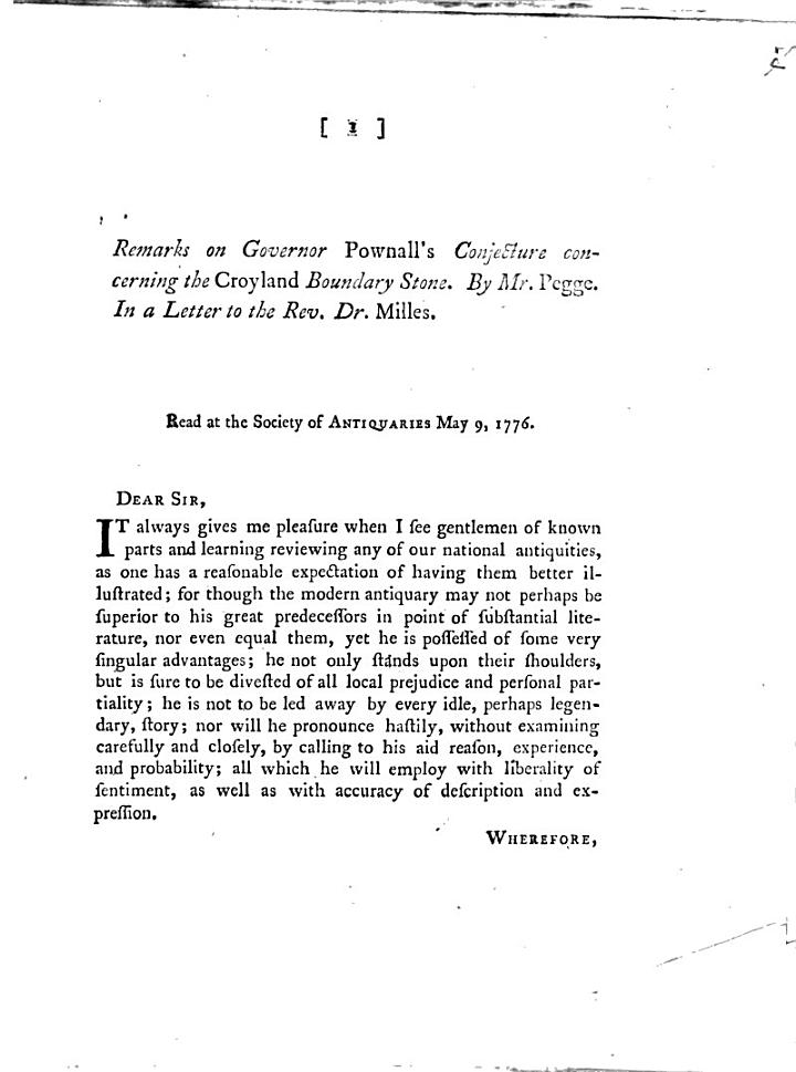 Remarks on Governor Pownall's Conjecture concerning the Crogland Boundary Stone