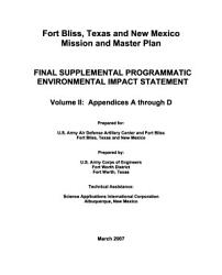 Fort Bliss Mission and Master Plan  TX NM  PDF