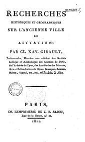 Recherches historiques et géographiques sur l'ancienne ville de Dittation