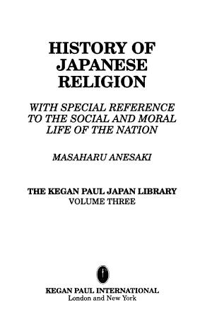 History of Japanese Religion PDF