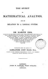 The spirit of mathematical analysis, and its relation to a logical system, tr. by A.J. Ellis
