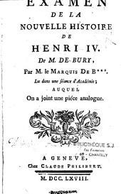 Examen de la nouvelle histoire de Henri IV de M. de Bury
