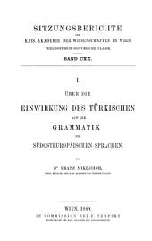 Über die Einwirkung des Türkischen auf die Grammatik der südosteuropäischen Sprachen: Band 120,Ausgabe 1