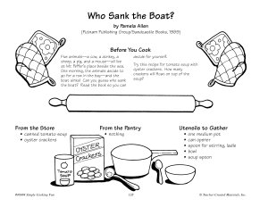 Who Sank the Boat   Tomato Soup with Oyster Crackers Recipe Book