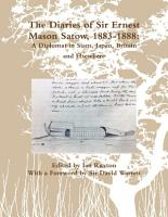 The Diaries of Sir Ernest Mason Satow  1883 1888  A Diplomat In Siam  Japan  Britain and Elsewhere PDF