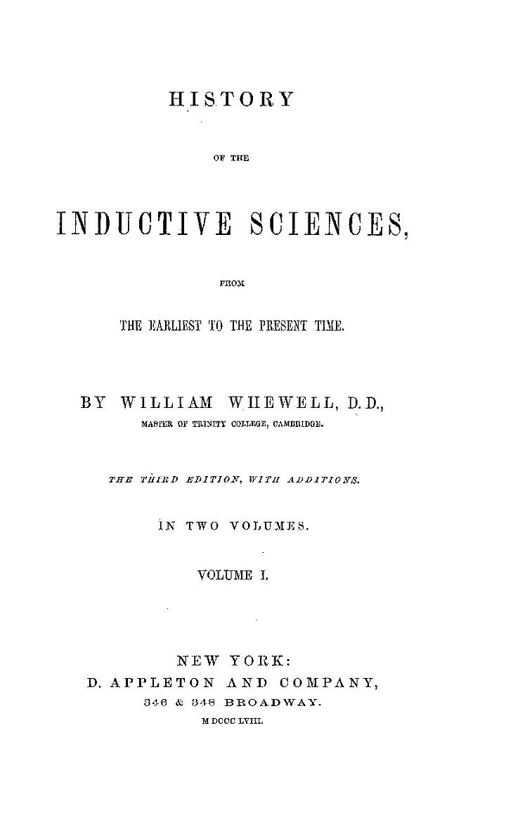 History of Inductive Sciences