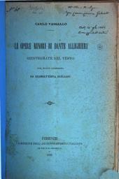 Le opere minori di Dante Alighieri reintegrate nel testo con nuovo commento da Giambattista Giuliani: recensione. Estr. dall'Archivio stor. italiano: Volume 4