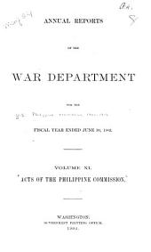 Acts of the Philippine Commission: Issues 1-1800