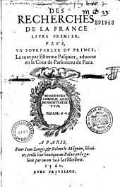 Des recherches de la France Livre premier