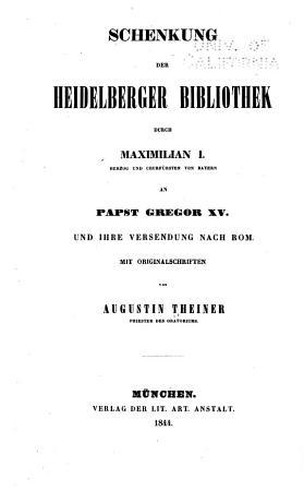 Schenkung der Heidelberger Bibliothek durch Maximilian I     PDF