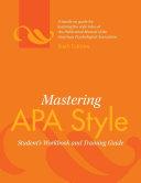 Mastering APA Style PDF