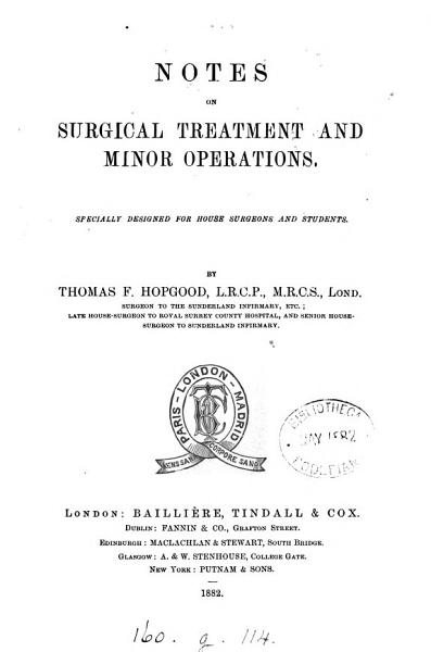 Download Notes on surgical treatment and minor operations Book