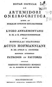 Notae criticae ad Artemidori Oneirocritica