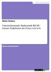 Unterrichtsstunde Mathematik BFS III: Lineare Funktionen der Form y=m*x+b