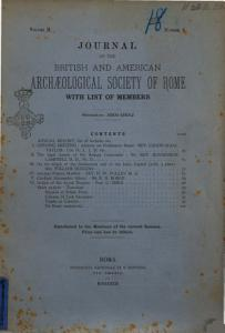 Journal of the British and American Society of Rome PDF