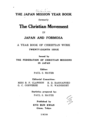 The Japan Christian Year Book