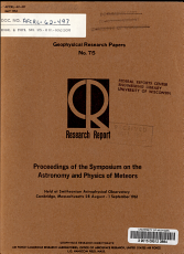 Proceedings of the Symposium on the Astronomy and Physics of Meteors Held at Smithsonian Astrophysical Observatory Cambridge  Massachusetts 28 August   1 September 1961 PDF