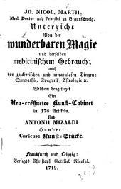 Unterricht von der wunderbaren Magie und derselben medicinischen Gebrauch