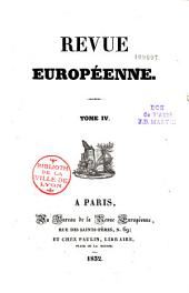 Revue Europeenne Tome IV