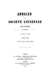 Annales de la Societ́e ́Linnéenne de Lyon: Volume29