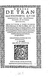 Theses De Transactionibus, Quid Transactio, Qui Transigere Possint, Et Eiusdem Rescissione: Quas ... Marsilio Koch,& ... Bernardo de Puteo ... publicè, apud Ubios laudati Collegij ... ordinarium præsidum munus fœliciter obeuntibus ... Ioannes Funckius Aggrippinas ; 3. Idus Augusti, Anno M., Part 38