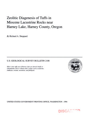 Zeolitic Diagenesis of Tuffs in Miocene Lacustrine Rocks Near Harney Lake  Harney County  Oregon PDF