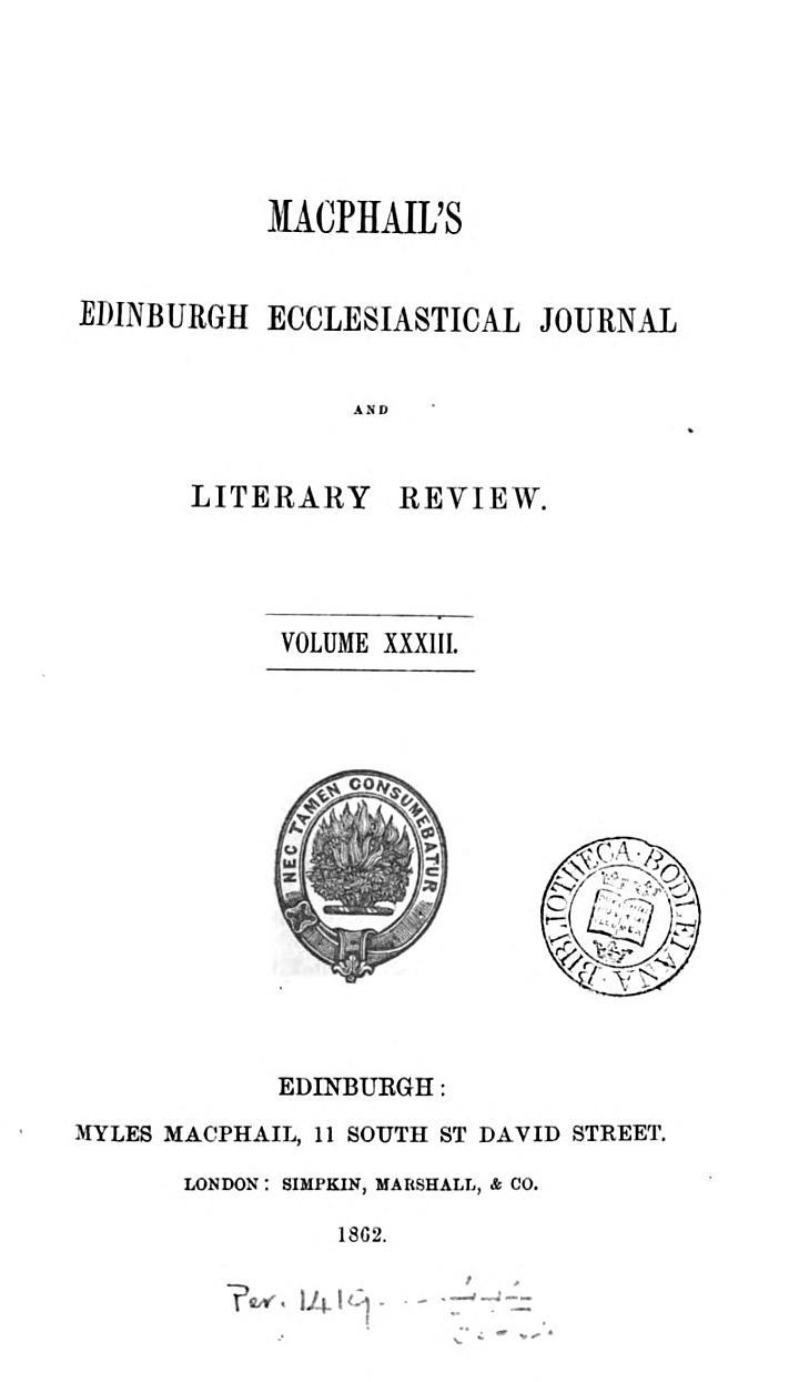 Macphail's Edinburgh ecclesiastical journal and literary review