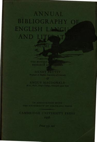 ANNUAL BIBLIOGRAPHY OF ENGLISH LANGUAGE AND LITERATURE  VOL  XXVII  1947  PDF