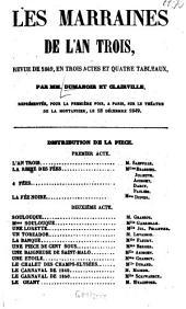 Les marraines de l'an trois: Revue de 1849, en 3 actes et 4 tableaux. Par MM. Dumanoir et [Louis-François Nicolaïe dit] Clairville