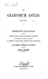 De Graecorum asylis: pars prior