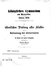 Zur öffentlichen Prüfung aller Klassen ladet im Namen des Lehrer-Collegiums ergebenst ein0: 1875/76