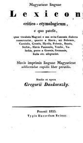 Magyaricae linguae lexicon critico-etymologicum