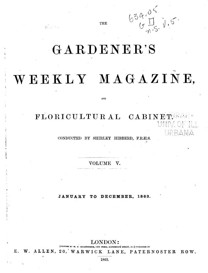 The Gardener's Weekly Magazine, and Floricultural Cabinet