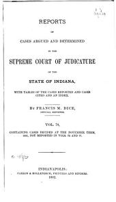 Reports of Cases Argued and Determined in the Supreme Court of Judicature of the State of Indiana: Volume 78