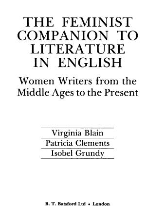 The Feminist Companion to Literature in English PDF